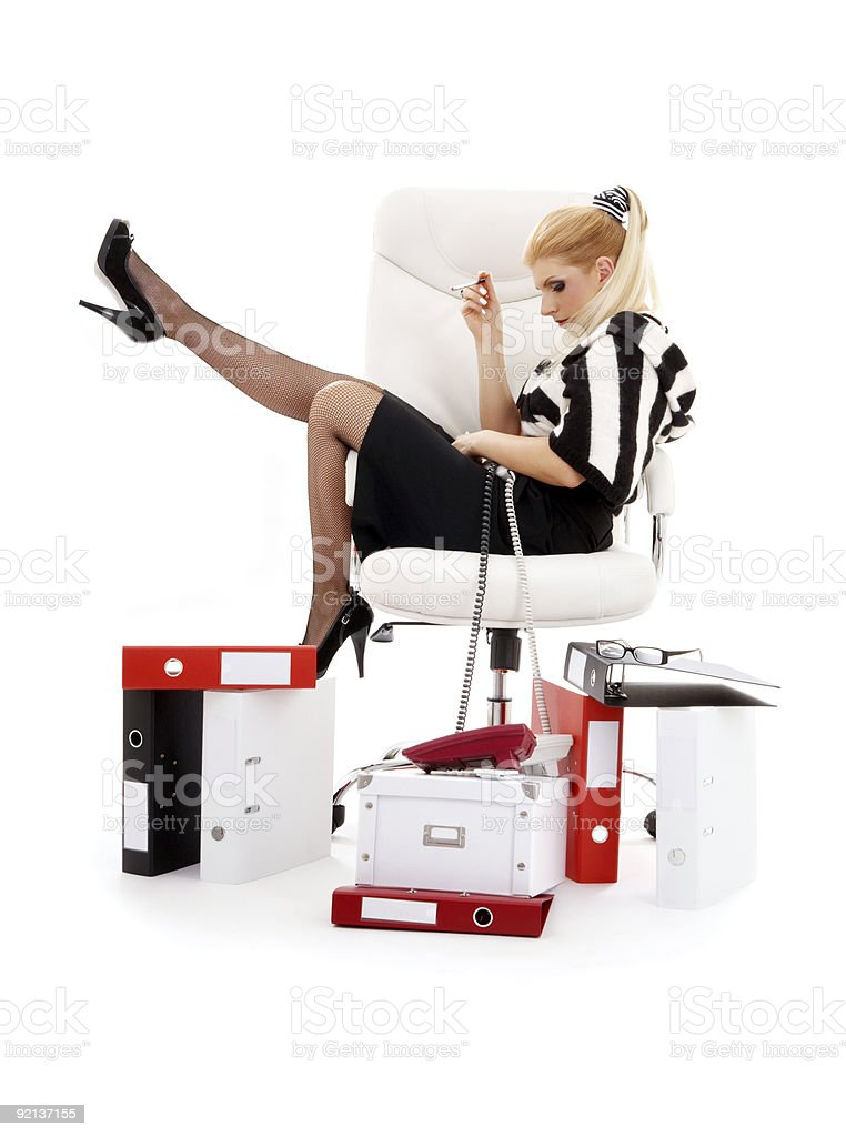 tired businesswoman in chair over white royalty-free stock photo