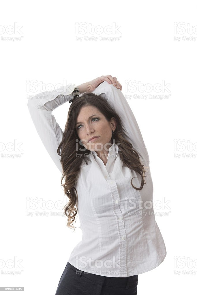 Tired businesswoman in the office royalty-free stock photo