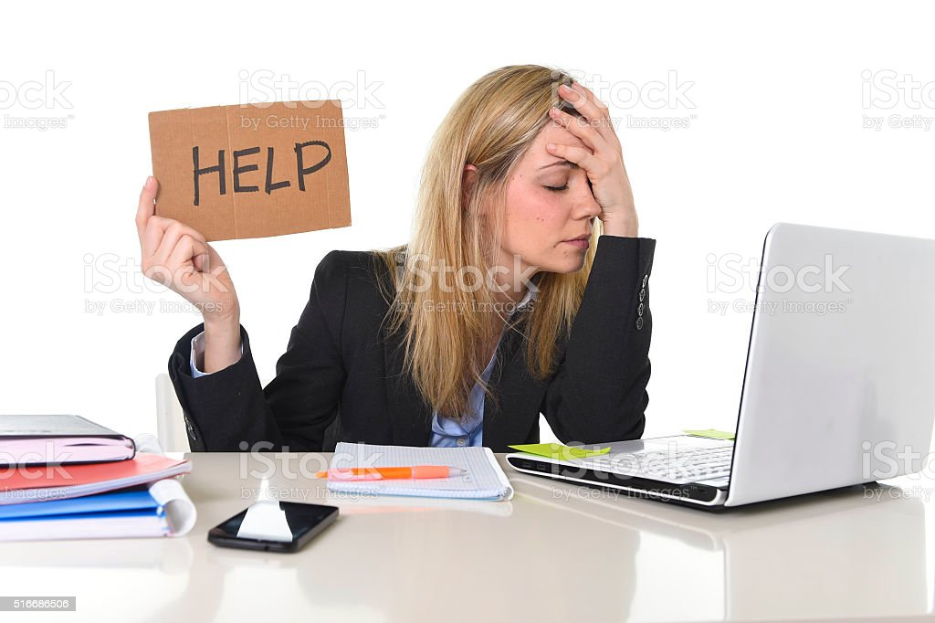 tired businesswoman suffering stress working at office asking for help stock photo