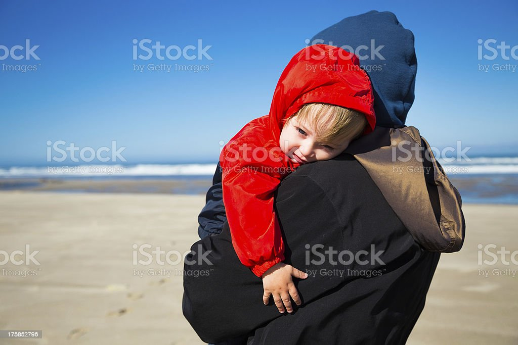 Tired Child at Coast royalty-free stock photo