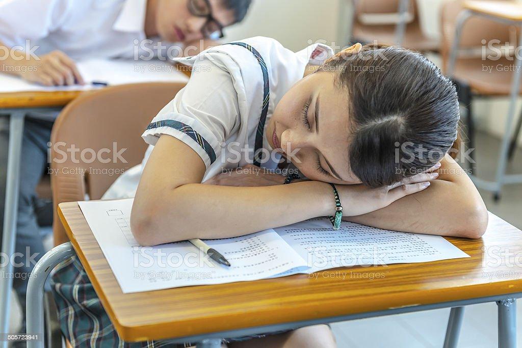 Tired Chinese Students at School, Hong Kong, Asia stock photo
