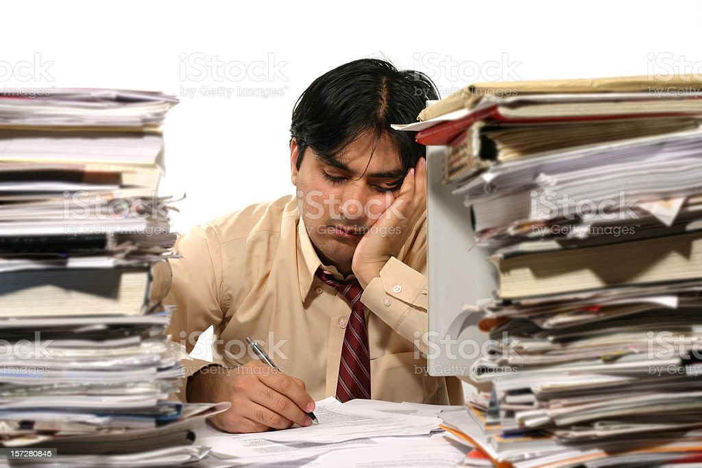Tired Clerk 3 royalty-free stock photo