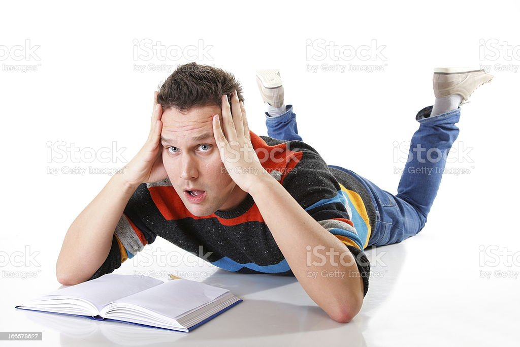 tired college student after hard work for exam royalty-free stock photo
