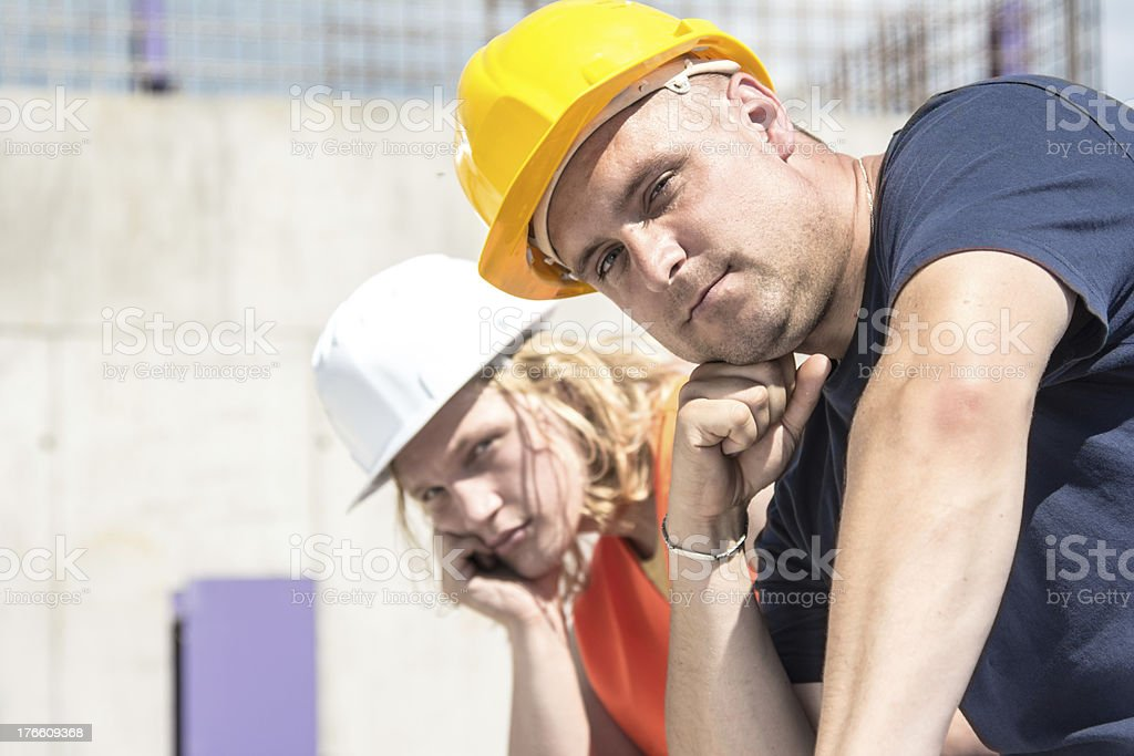 Tired construction workers royalty-free stock photo
