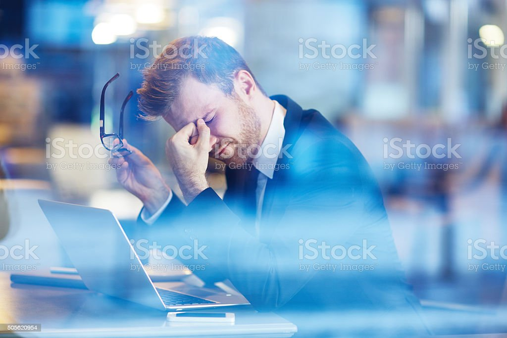 Tired employee stock photo