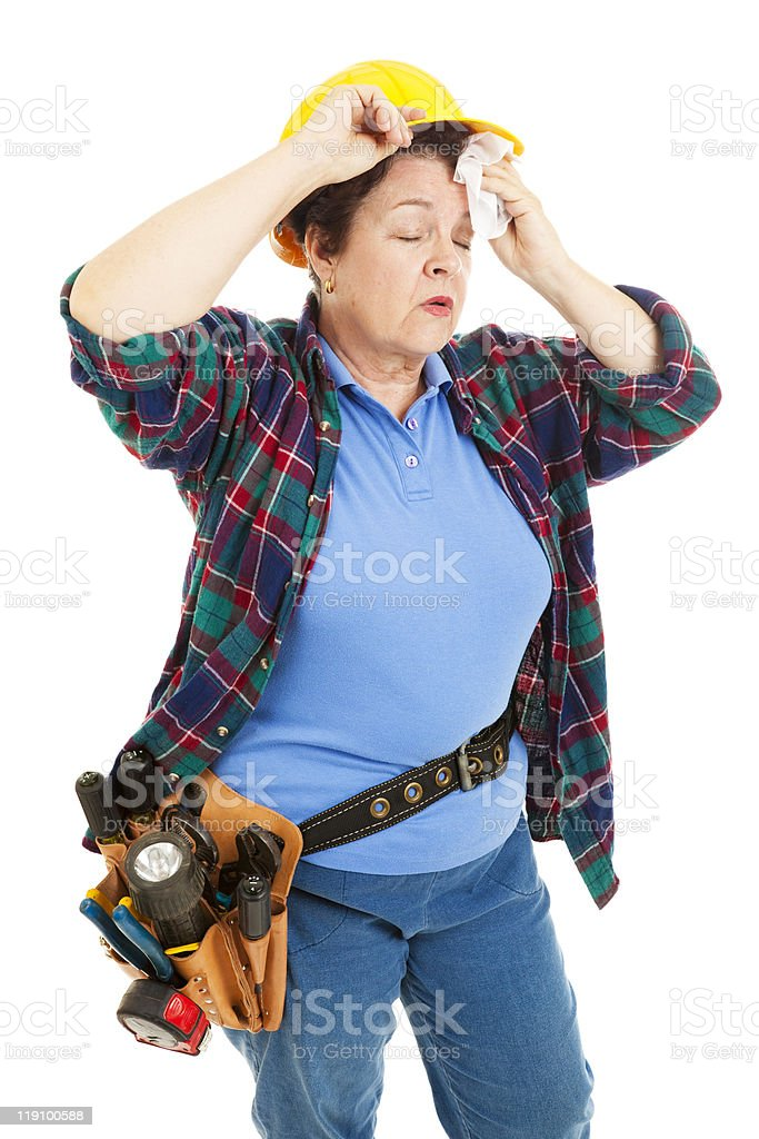Tired Female Construction Worker royalty-free stock photo