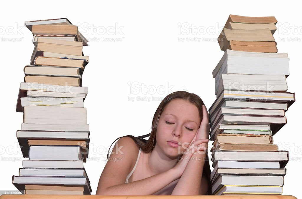 Tired female student stock photo