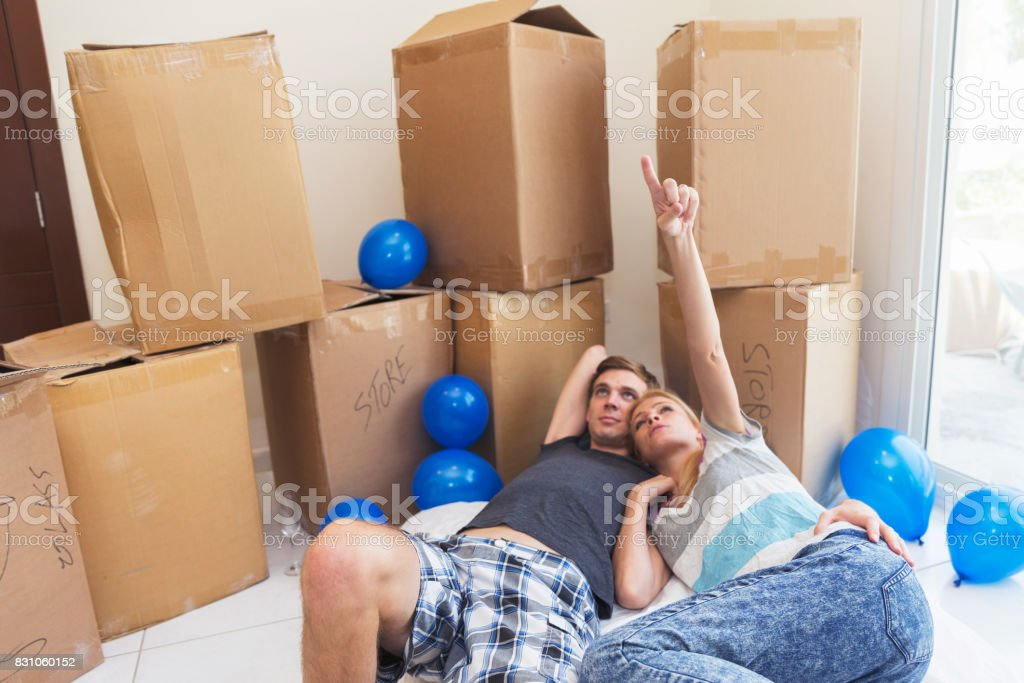 Tired from all the hard work of moving in makes anyone want to take a break stock photo