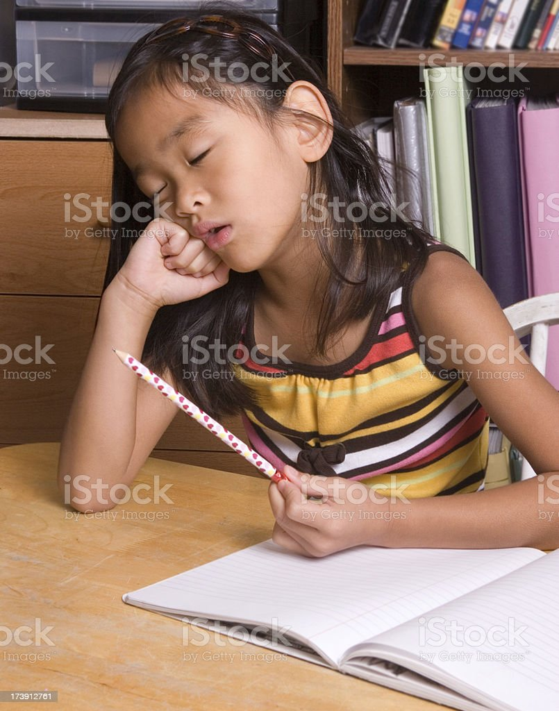 Tired from homework (part of series) royalty-free stock photo