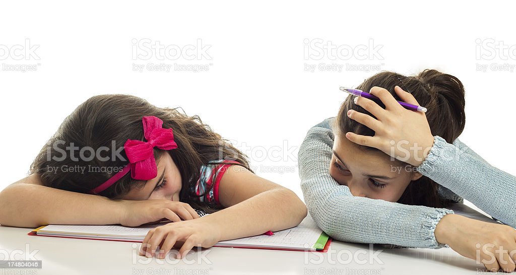 Tired from homework royalty-free stock photo