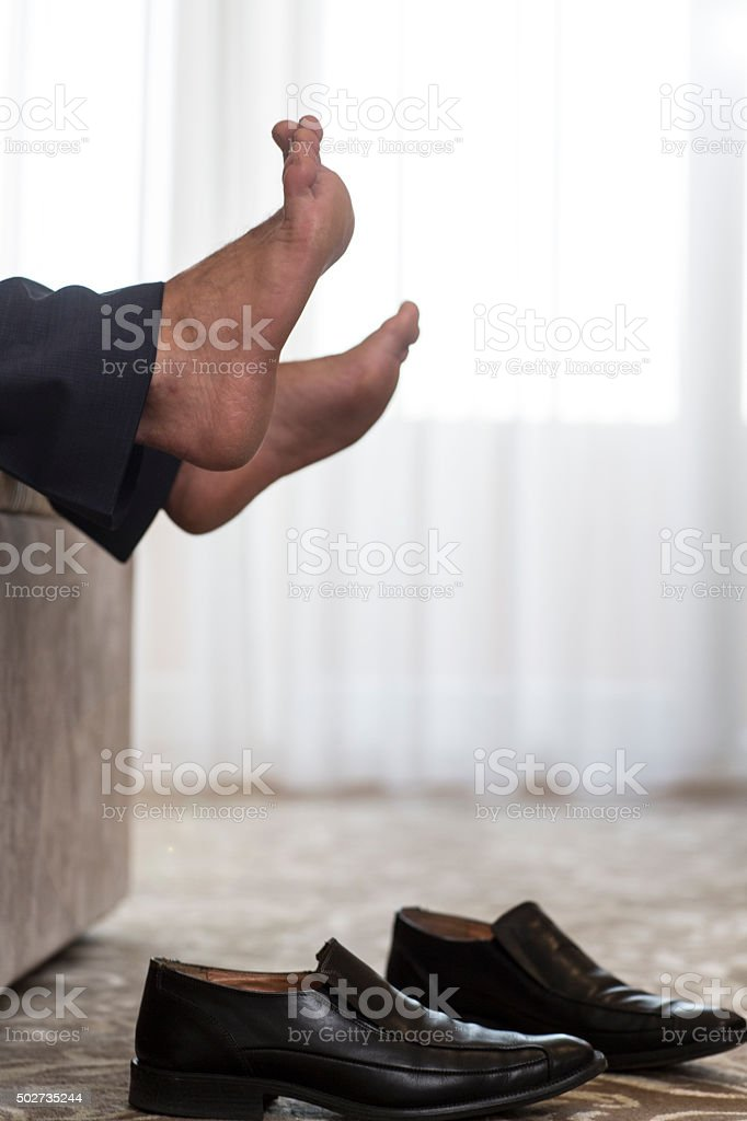 Tired from long business meeting stock photo