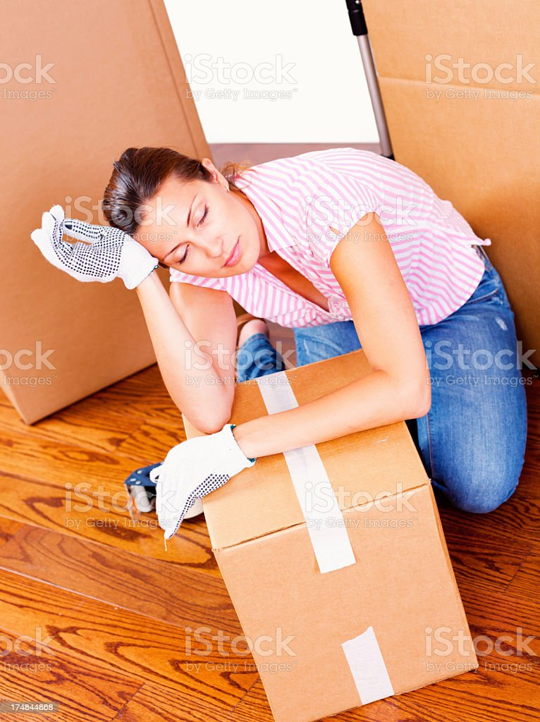 Tired from packing royalty-free stock photo