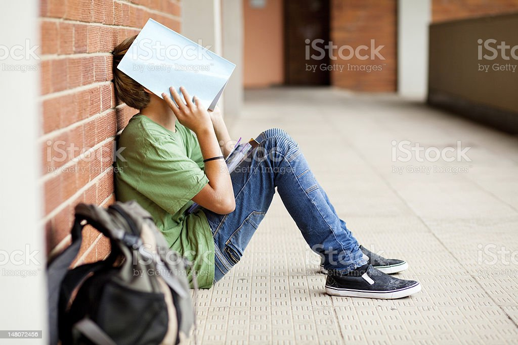 tired high school student stock photo