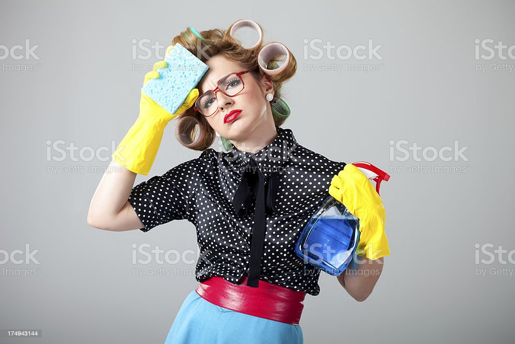 Tired housewife royalty-free stock photo