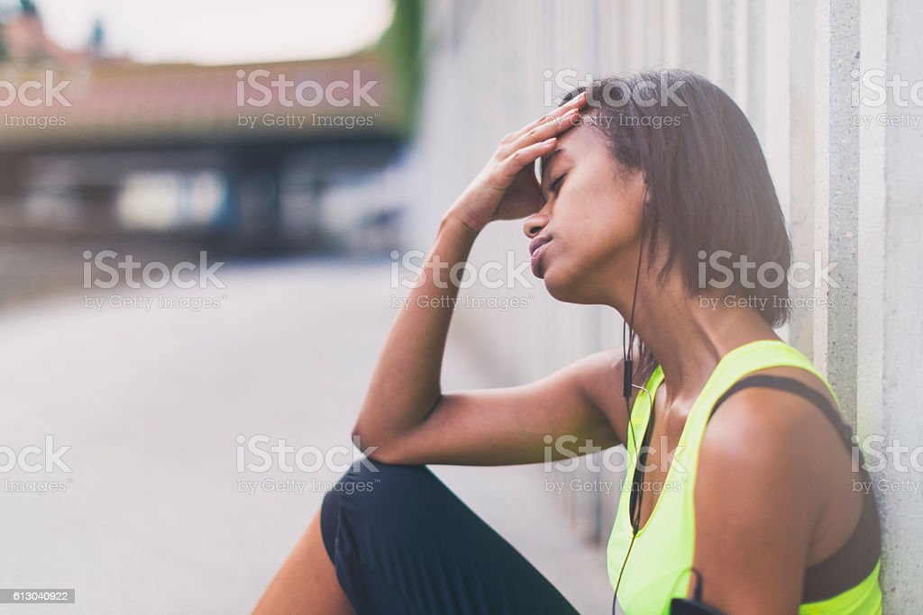 Tired jogger stock photo