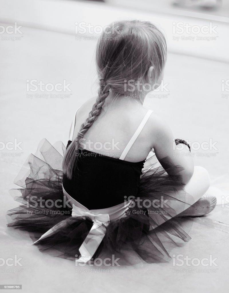 Tired little ballerina royalty-free stock photo