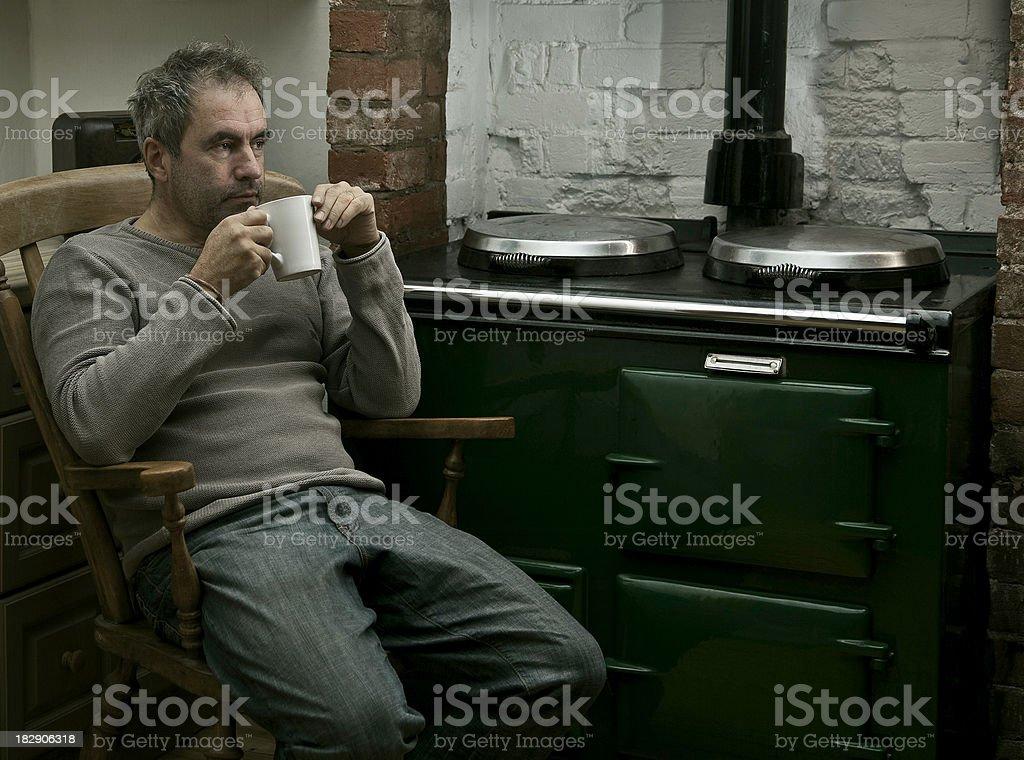 Tired man at night royalty-free stock photo