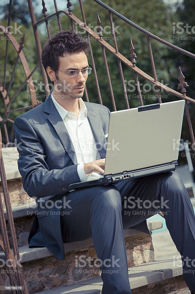 Tired Man Businessman overworking outdoors royalty-free stock photo
