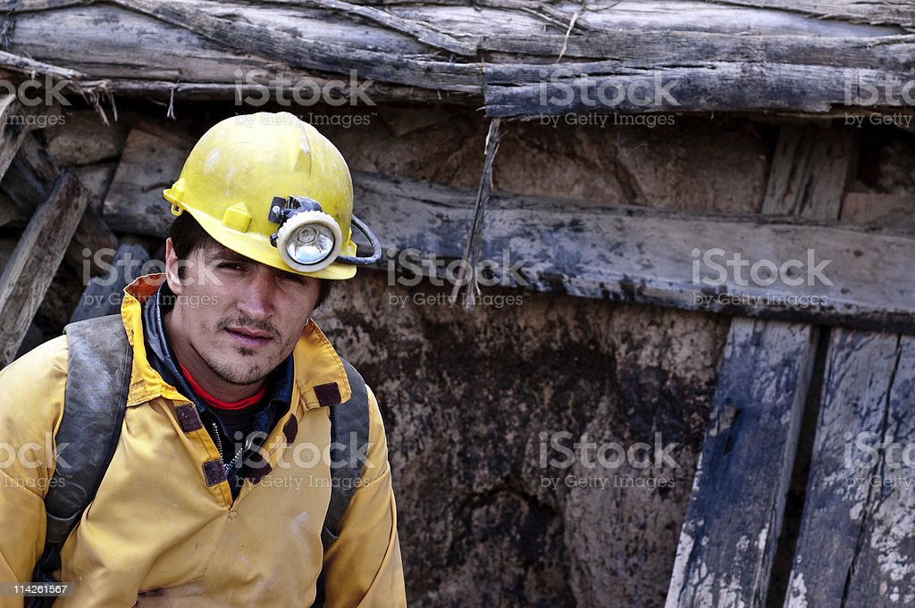 Tired miner after work stock photo