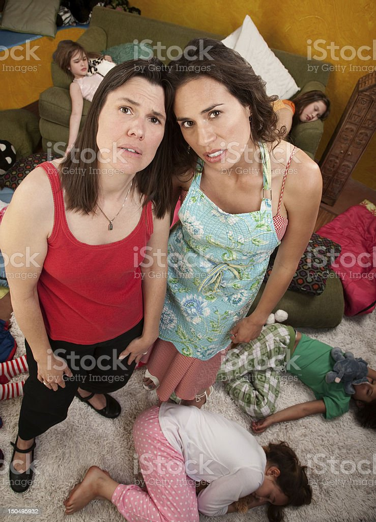 Tired Mom and Babysitter royalty-free stock photo