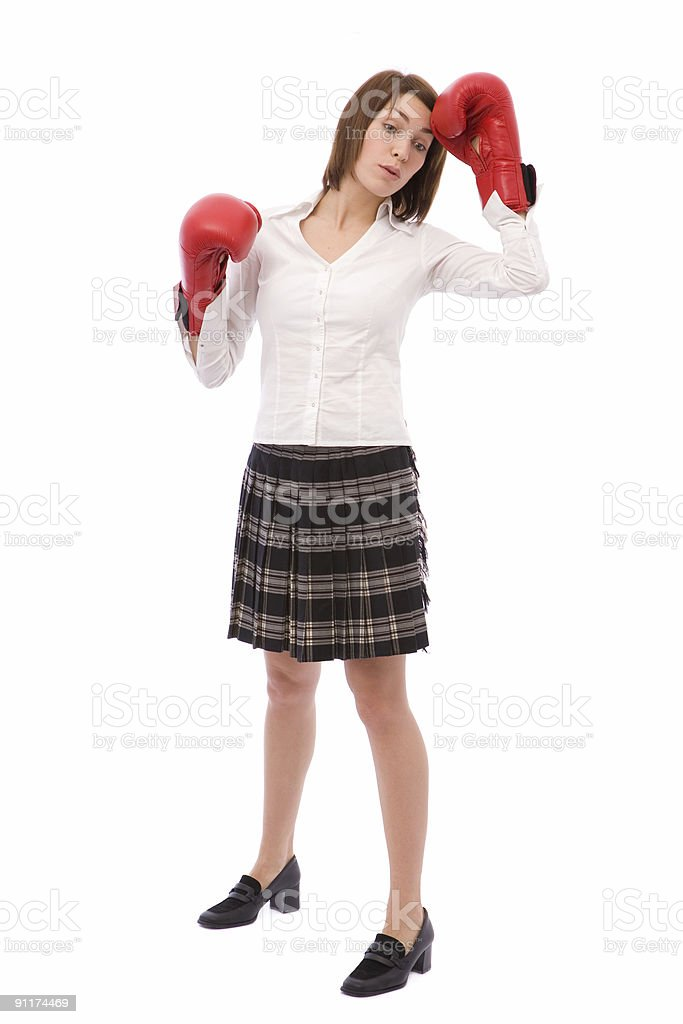 tired of boxing stock photo