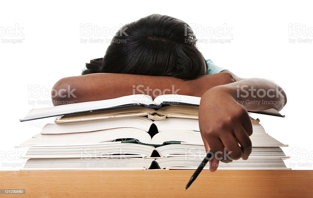 Tired of homework studying stock photo