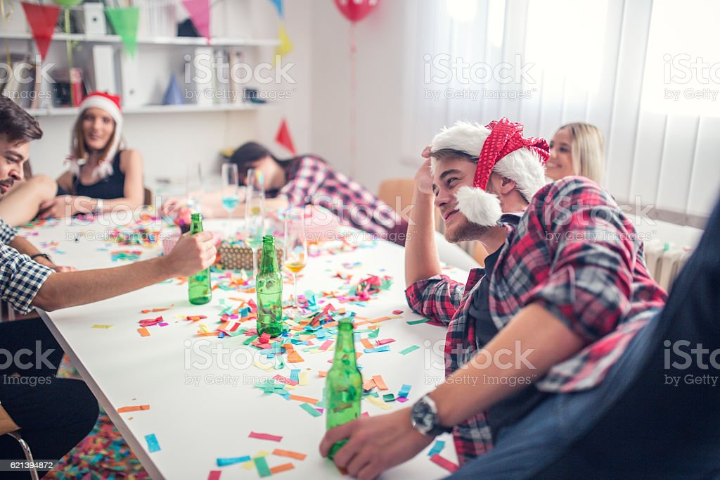 Tired of partying stock photo