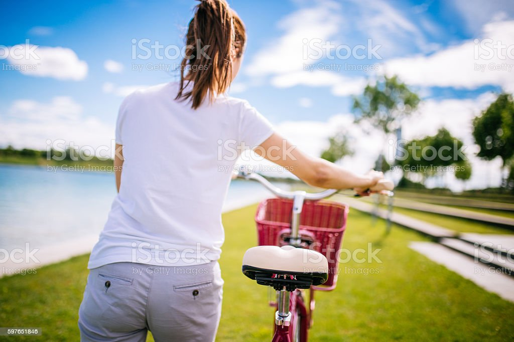 Tired of riding stock photo