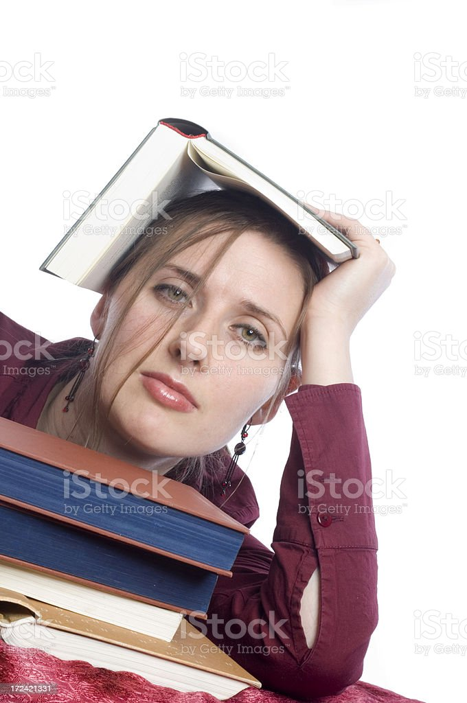 Tired of studying royalty-free stock photo