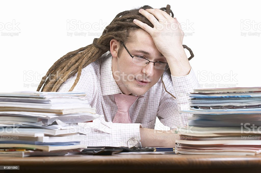 Tired of working royalty-free stock photo