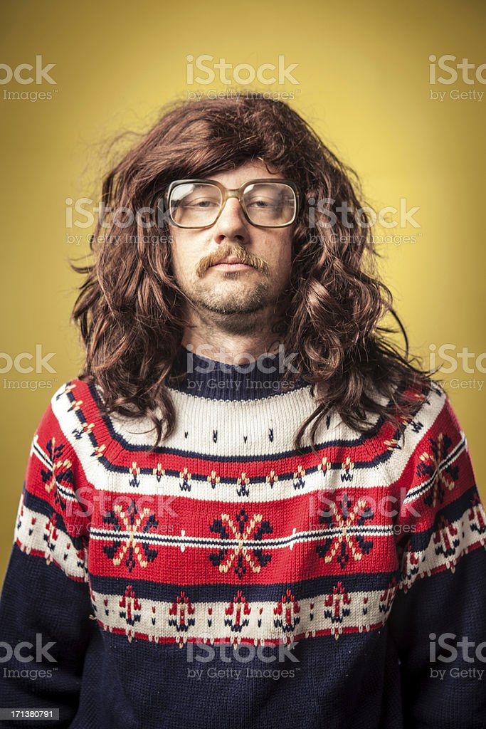 Tired or Squinting Ugly 1980s man bad Sweater Portrait stock photo