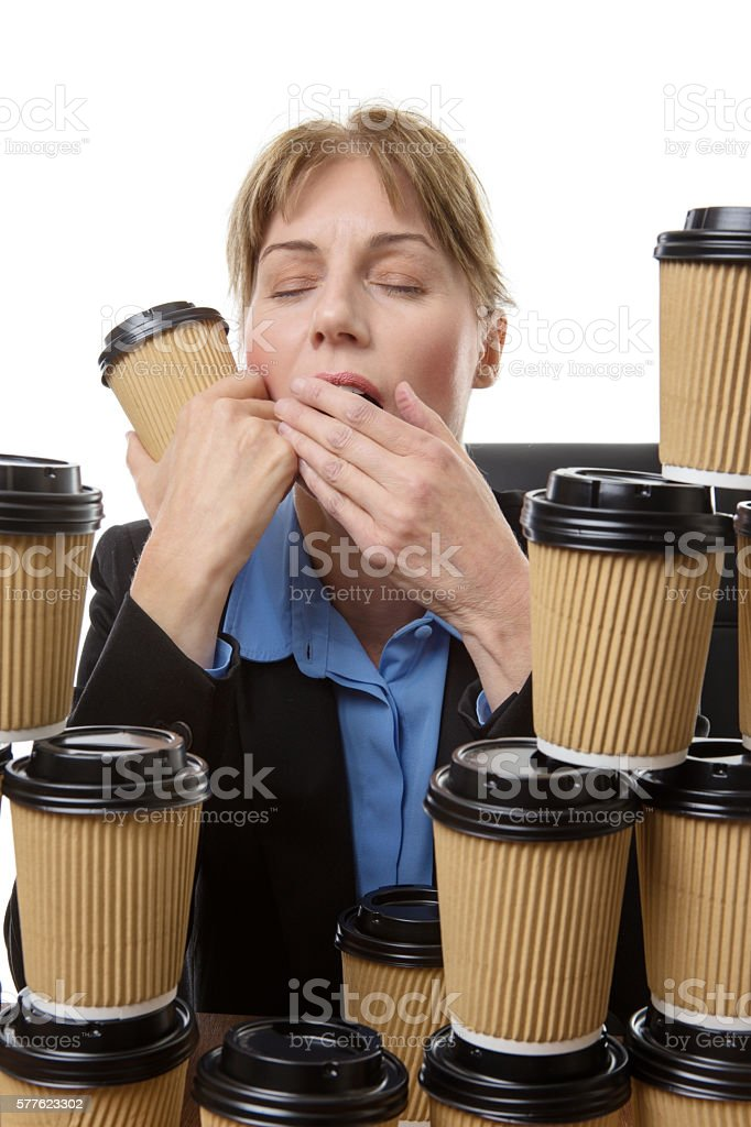 tired out at work stock photo