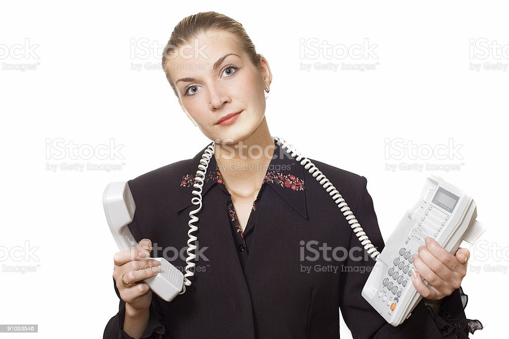 Tired phone operator royalty-free stock photo