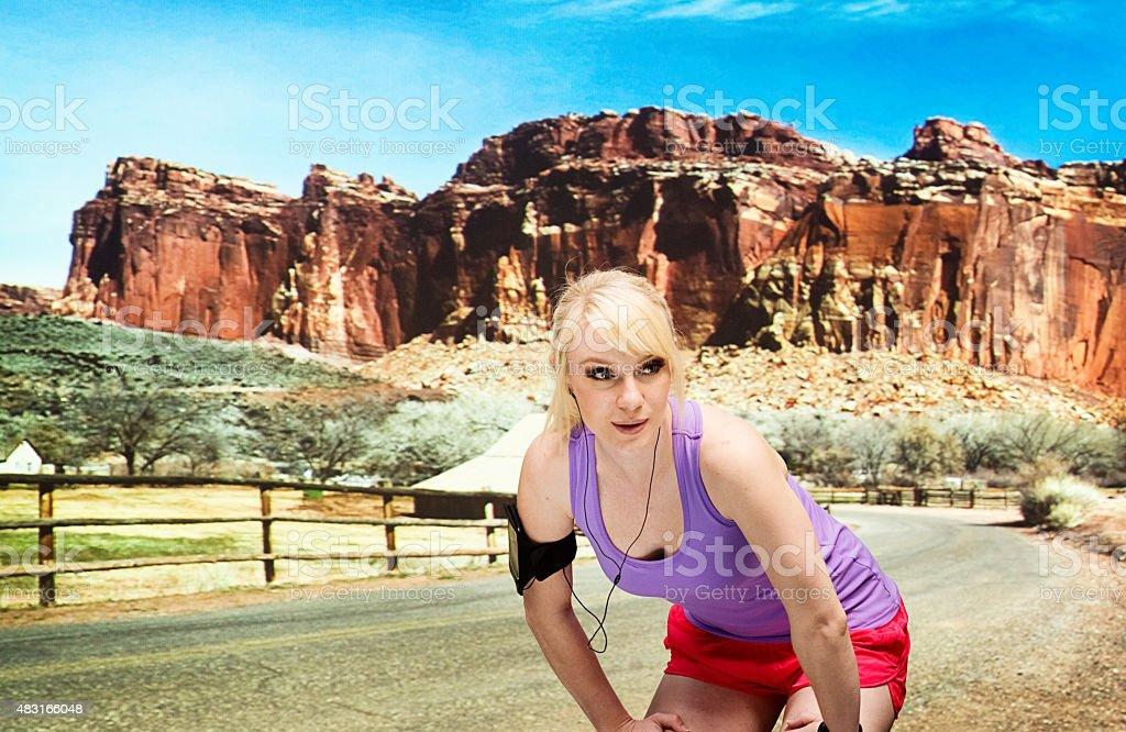 Tired runner stock photo