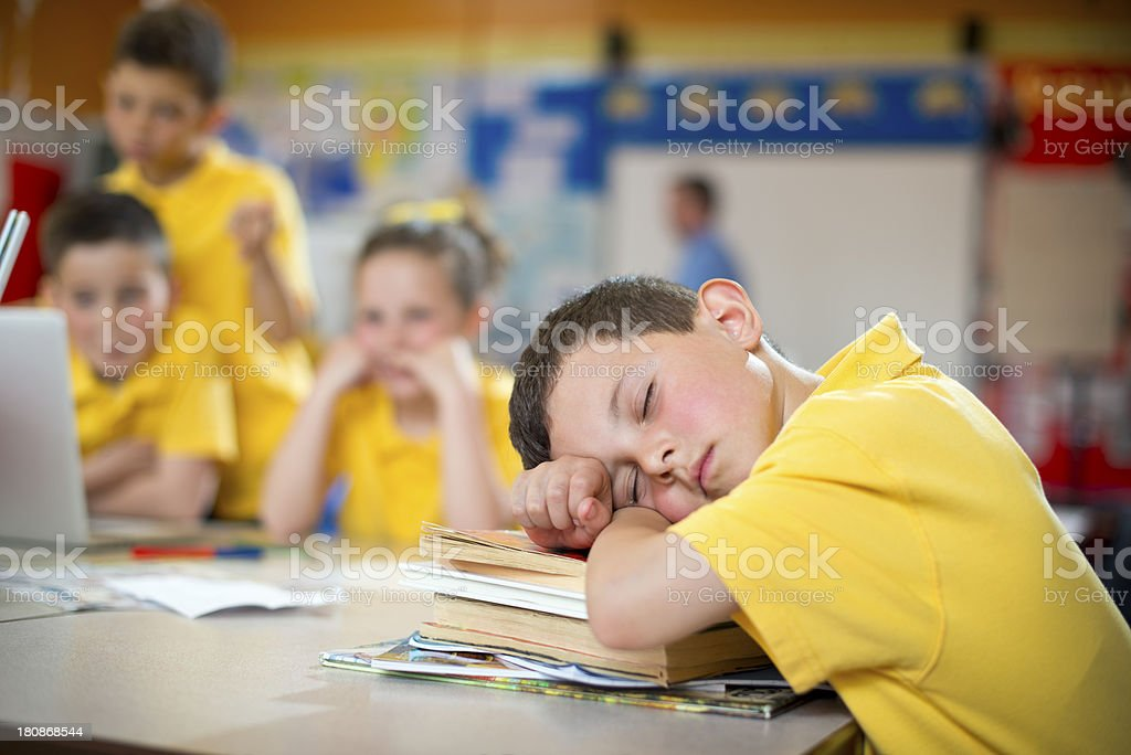 tired schoolboy royalty-free stock photo