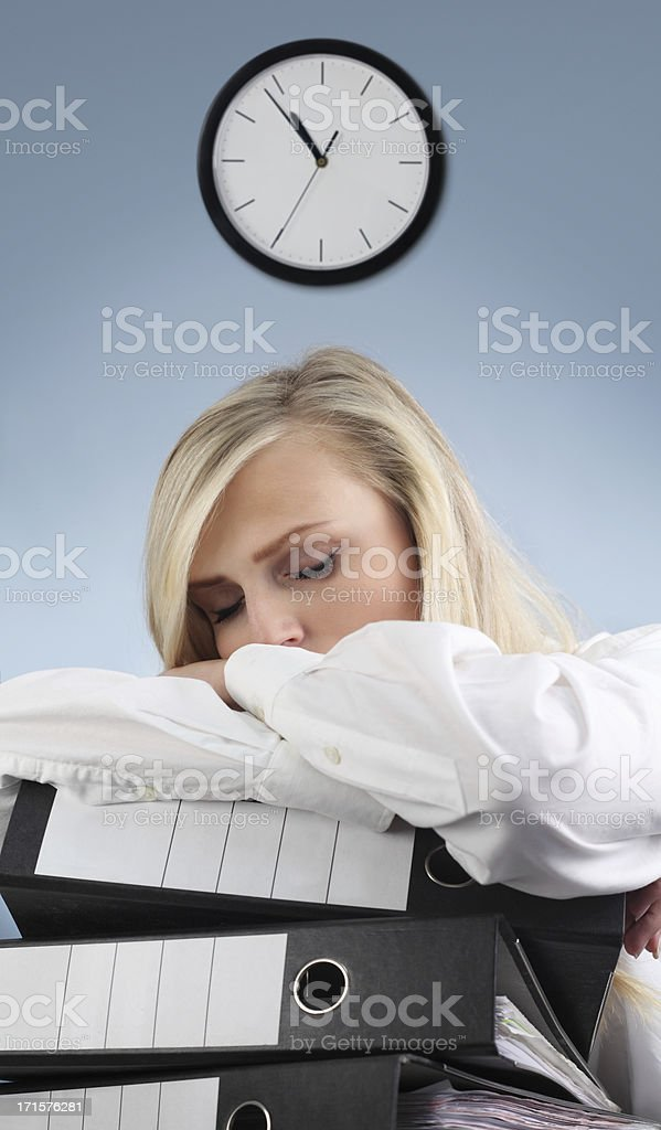 Tired Secretary Sleeping in the Office royalty-free stock photo