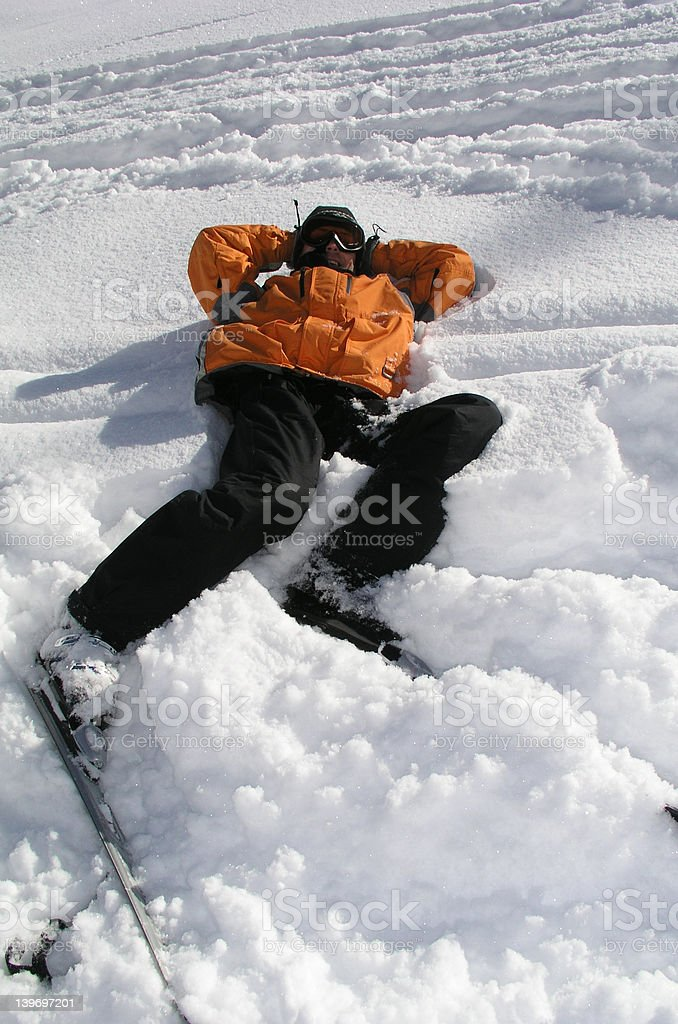 Tired skier royalty-free stock photo