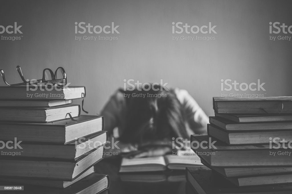 Tired student stock photo