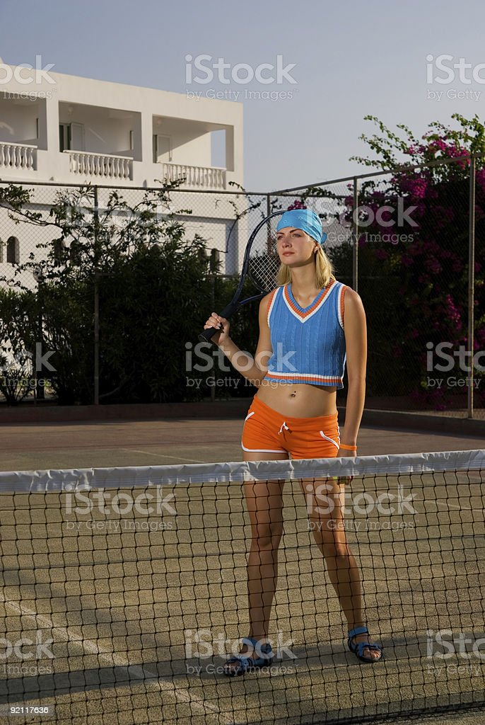 Tired tennis player royalty-free stock photo