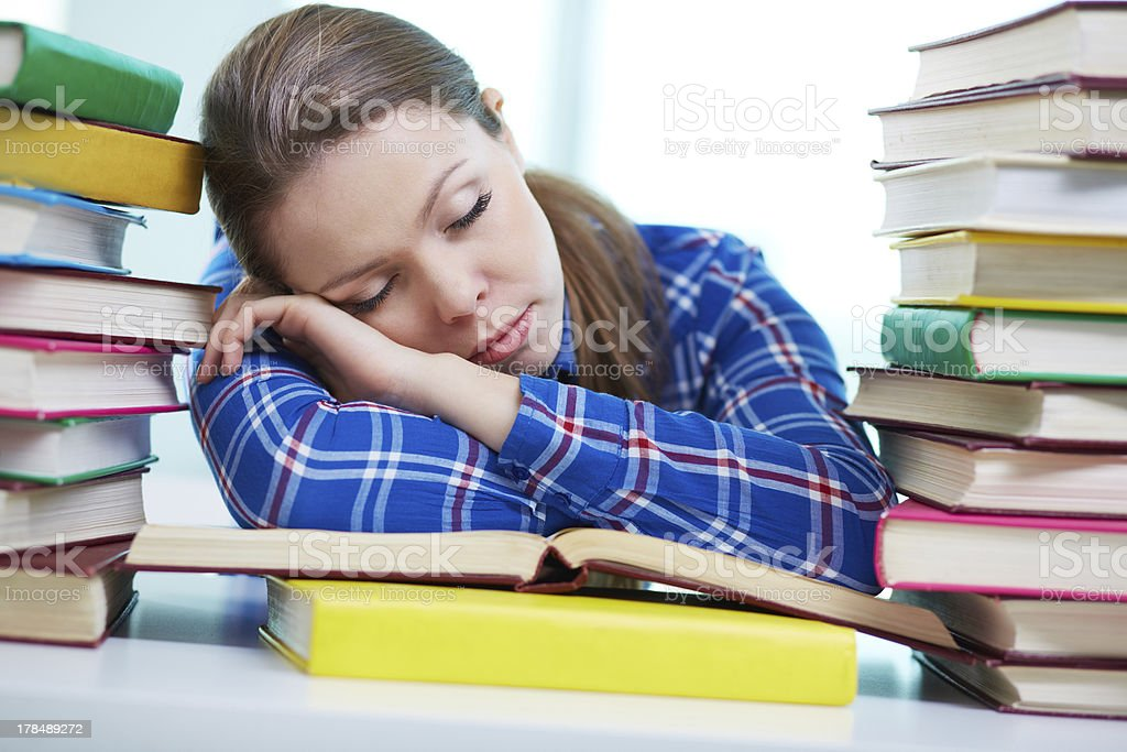 Tired to study royalty-free stock photo