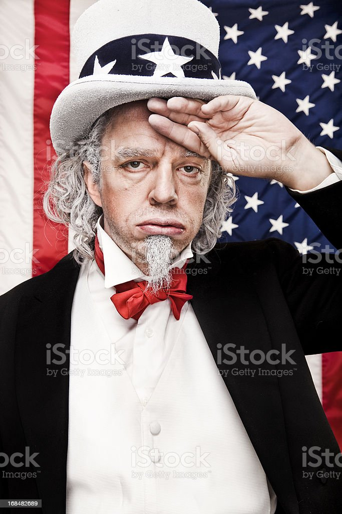 Tired Uncle Sam stock photo