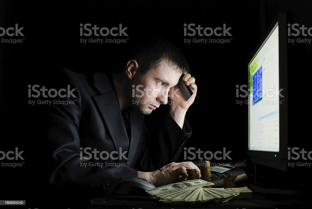 Tired user with money royalty-free stock photo