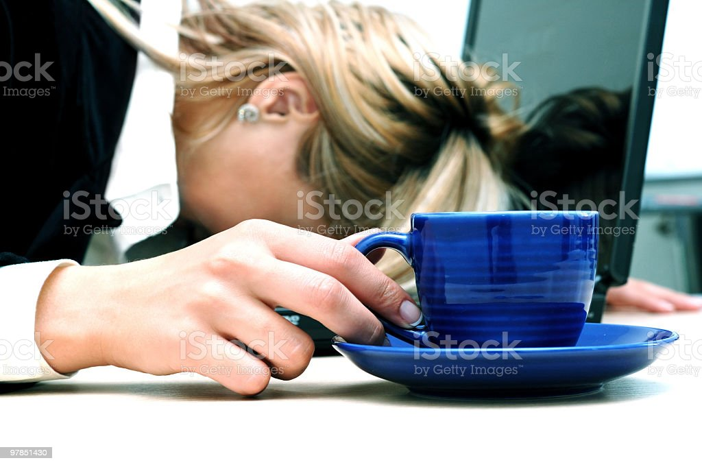 Tired woman are sleeping royalty-free stock photo