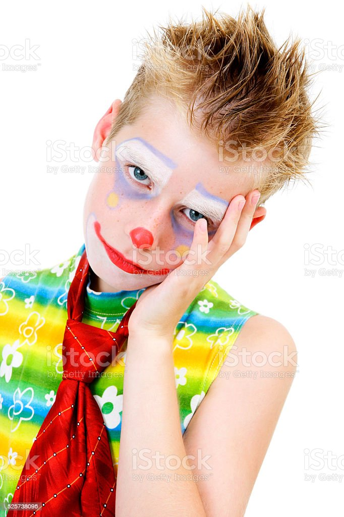 Tired (bored) young clown stock photo
