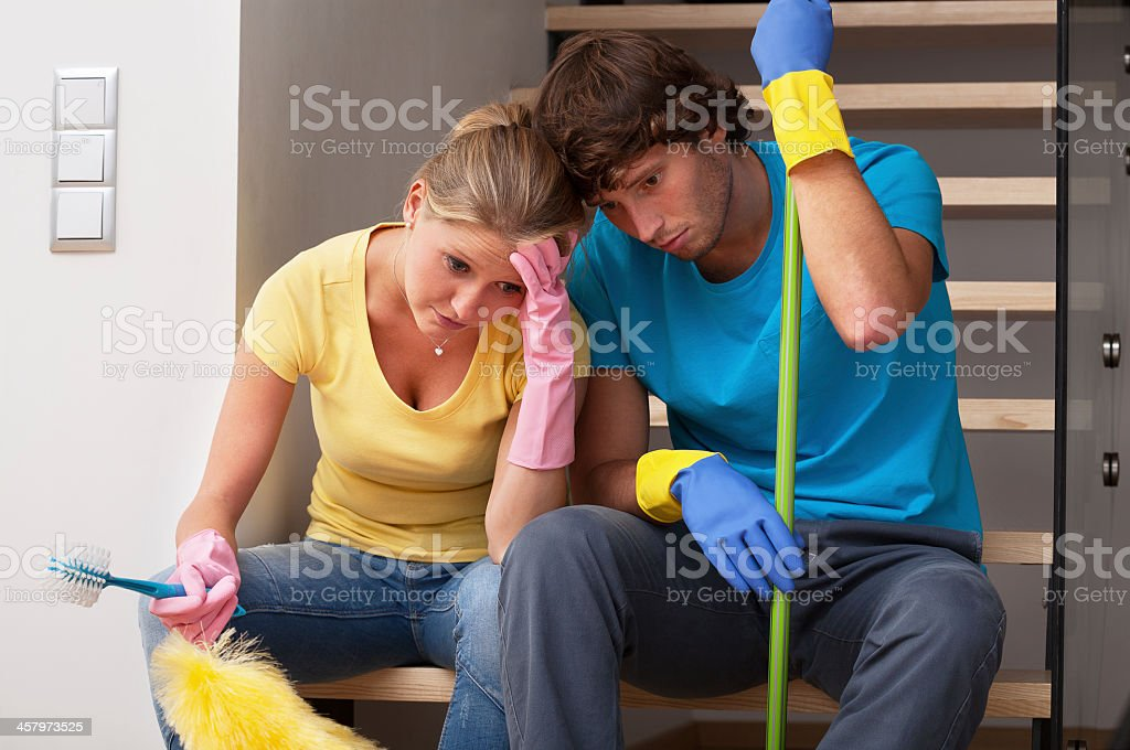 Tiredness after household duties stock photo