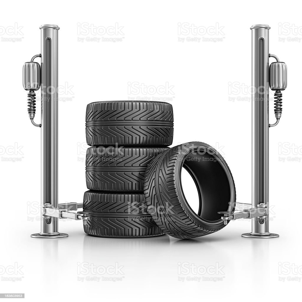 tires and hydraulic platform royalty-free stock photo