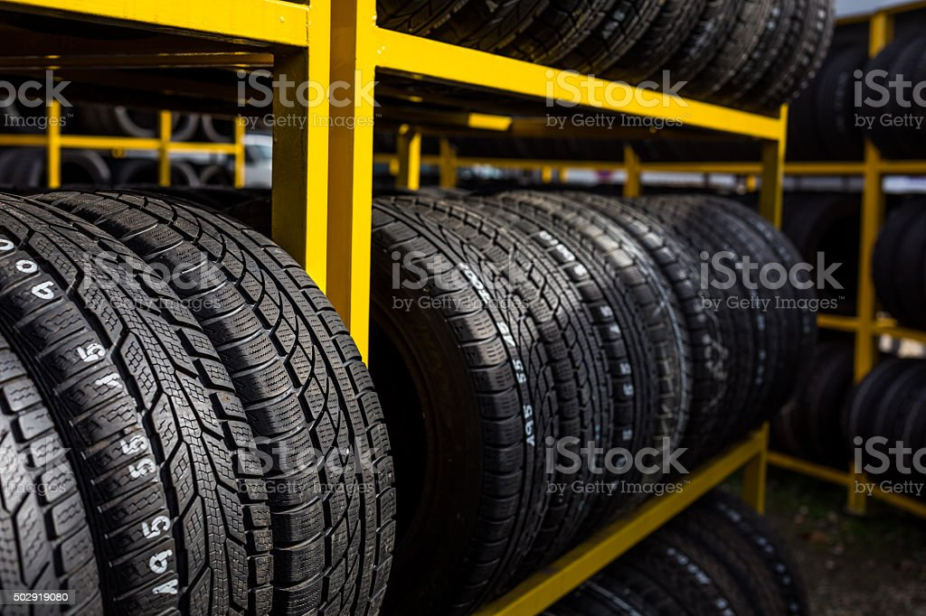 Tires for sale at a tire store stock photo