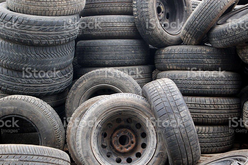 Tires in a scrap yard stock photo