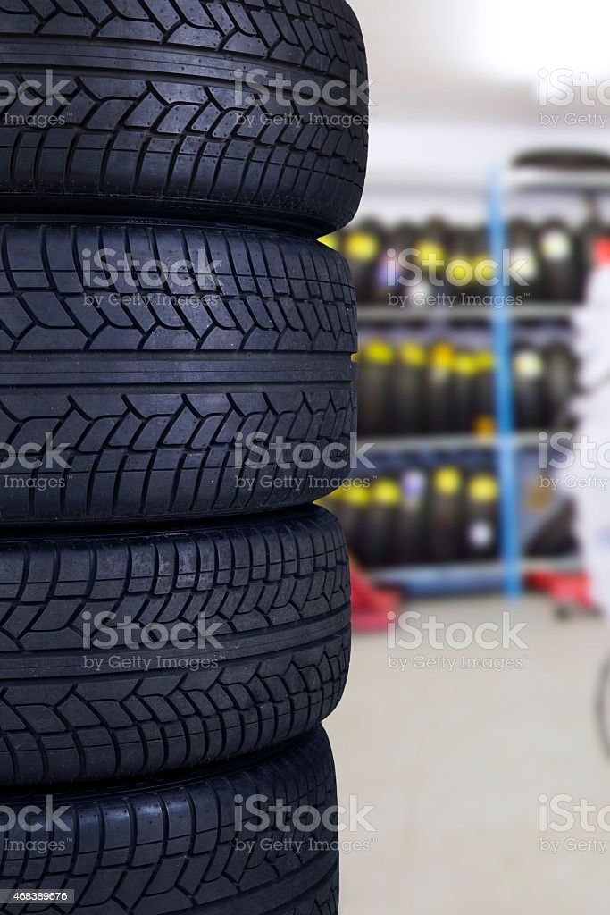 Tires in the spare parts store stock photo