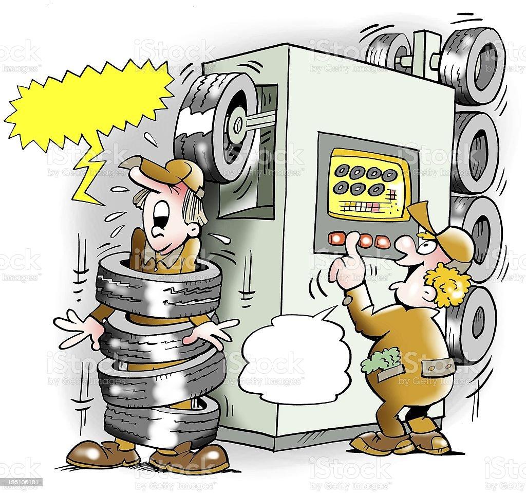 Tires Machine goes amok royalty-free stock photo